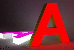 Объемные буквы со светящейся лицевой и боковой поверхностью